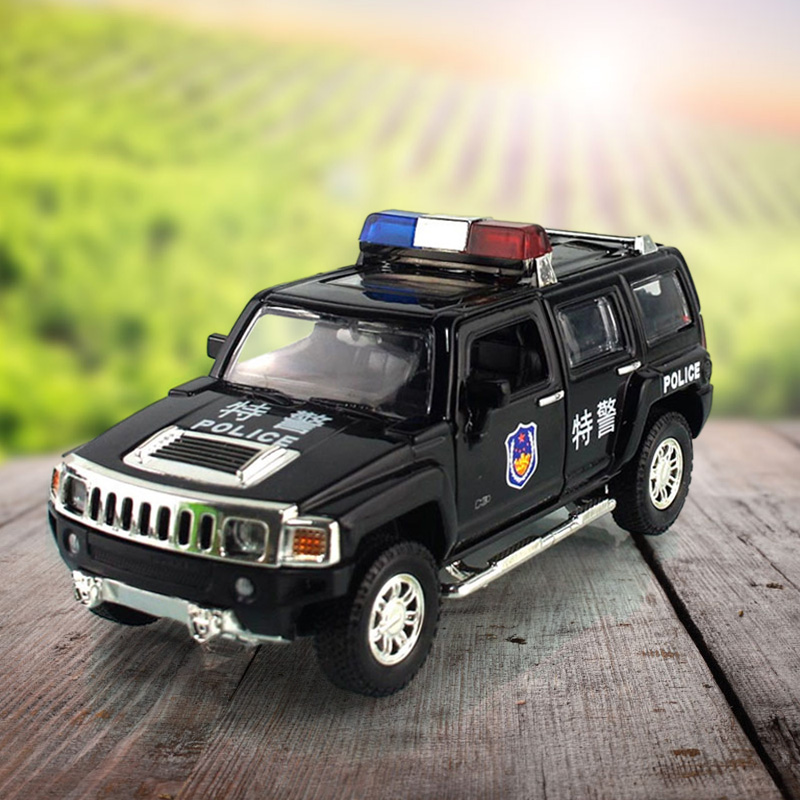 Caipo hummer h3 police car model car factory simulation alloy toy car large children hummer car gift