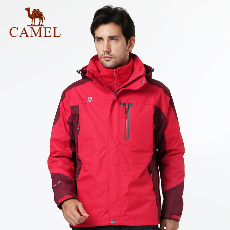 Camel camel men's outdoor winter warm waterproof windproof triple jackets jackets piece