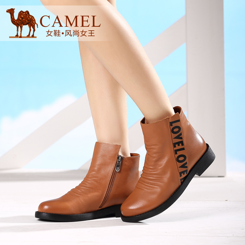 Camel/camel shoes 2015 autumn and winter leather dyeing leather low heel flat velvet boots martin boots short boots