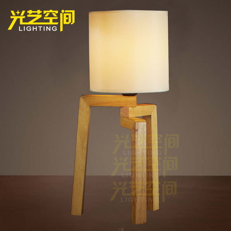 Camphor wood loft american country european retro industrial wood bedroom lamp dimmable creative ufo foot