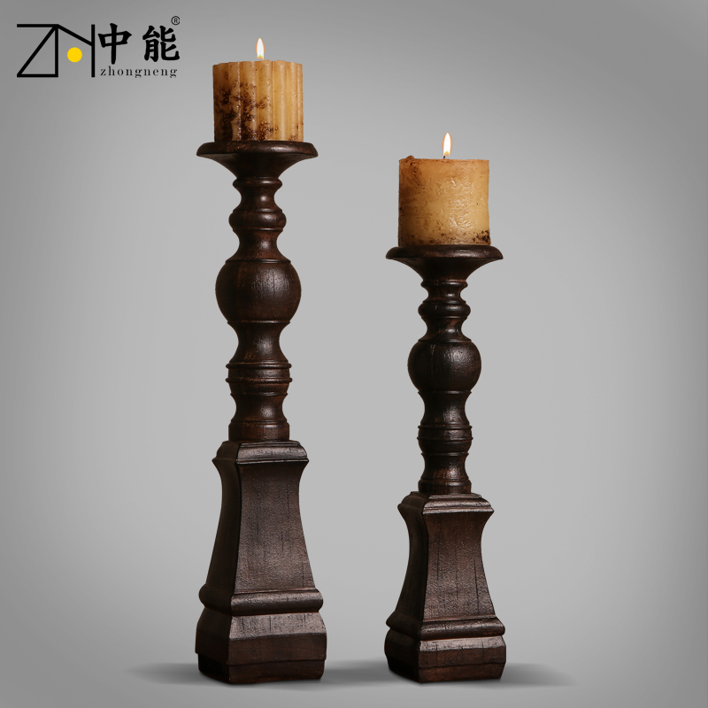 Can lamps american country retro nostalgia european creative home decoration resin ornaments candlestick candlestick