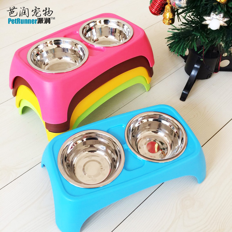 Candy colored pet dog bowl double bowl stainless steel double bowl dog bowl dog food bowl cat bowl cat bowl skid bowl
