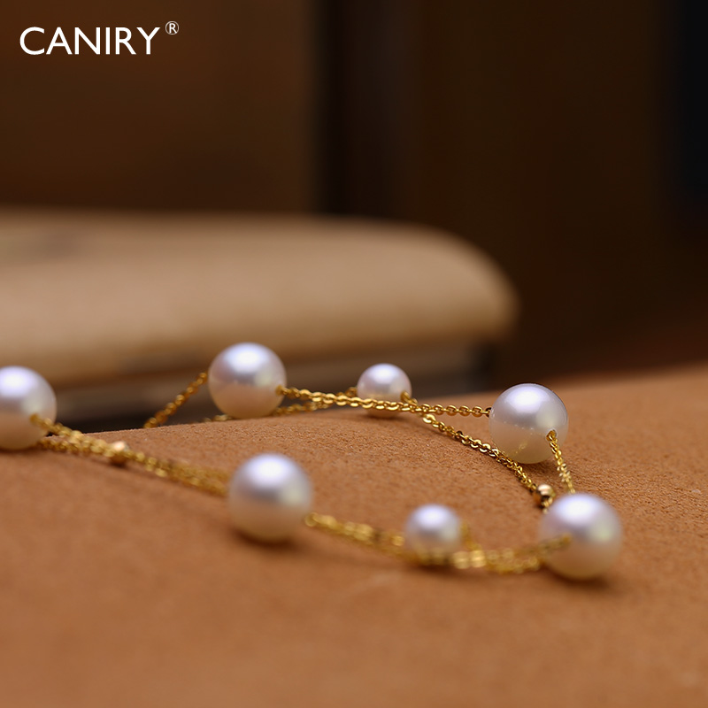 Caniry/kani rui 6.5-7mm when shang qing new k akoya natural seawater pearl bracelet double