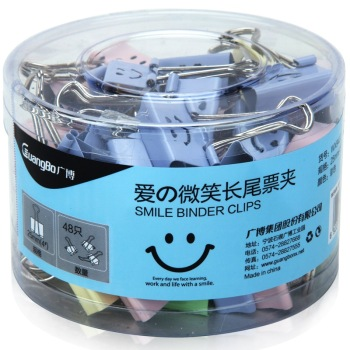 Cantonese love there smile WX9407 color smiley binder clips purse 25mm 48 learning office stationery
