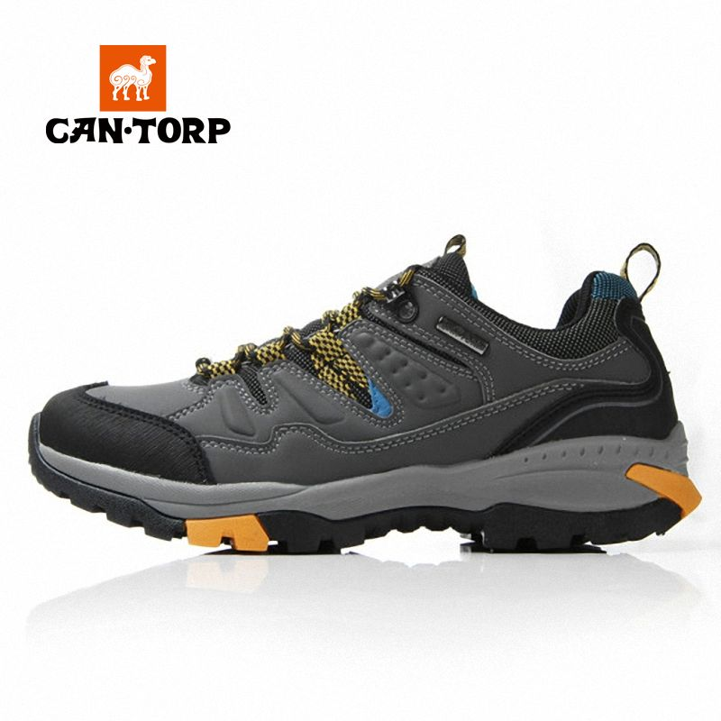 Cantorp outdoor waterproof leather hiking shoes male authentic autumn and winter hiking shoes outdoor wear and shock absorption