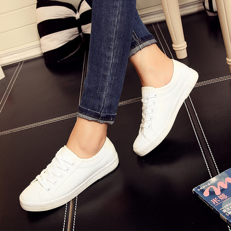 Canvas shoes women shoes flat with college spring and summer white canvas shoes female students breathable shoes white shoes shoes shipped move