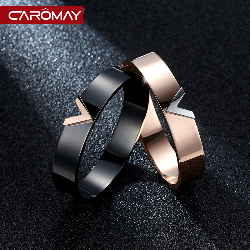 Carlo us jewelry high street fashion catwalk v titanium steel rose gold color gold bracelet female trend in europe and america accessorise