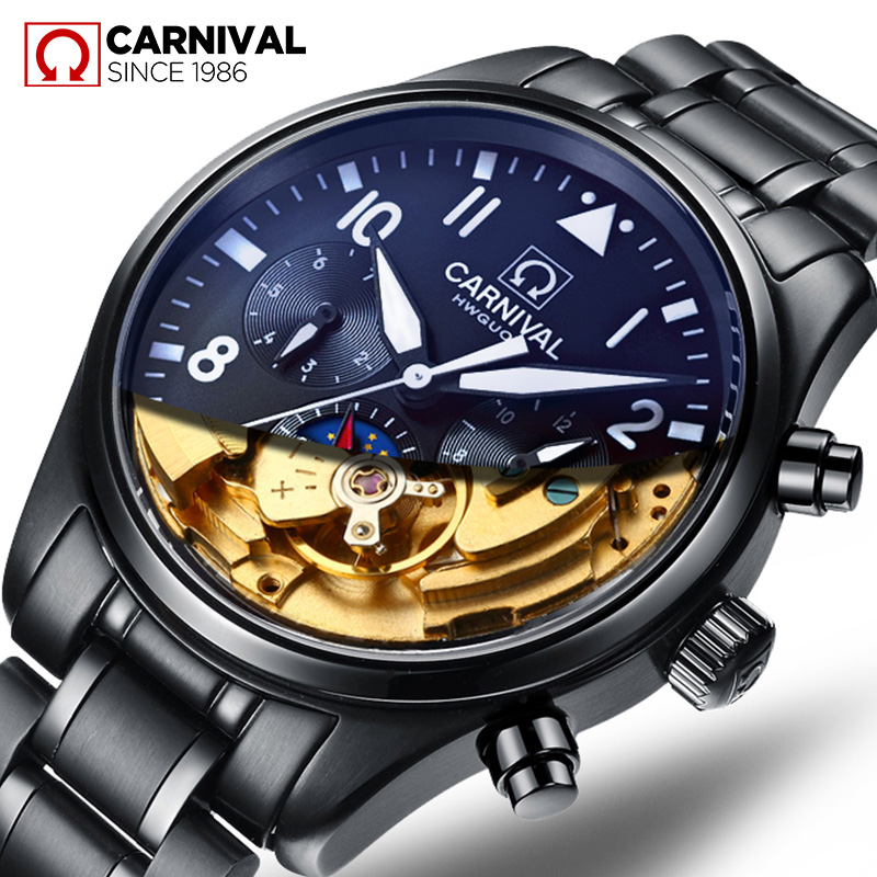 Carnival hollow fashion watches men automatic mechanical watch men watch black steel luminous waterproof military form