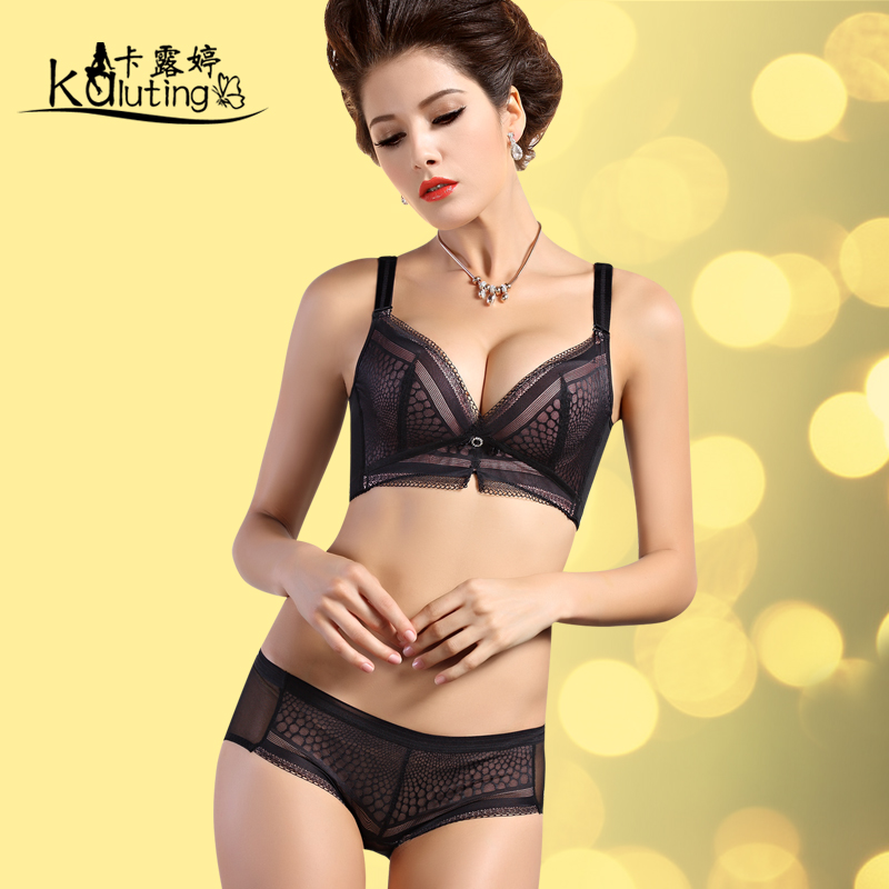 Carol ting upscale mesh fabric sexy gather close furu adjustable small chest adjustable bra set