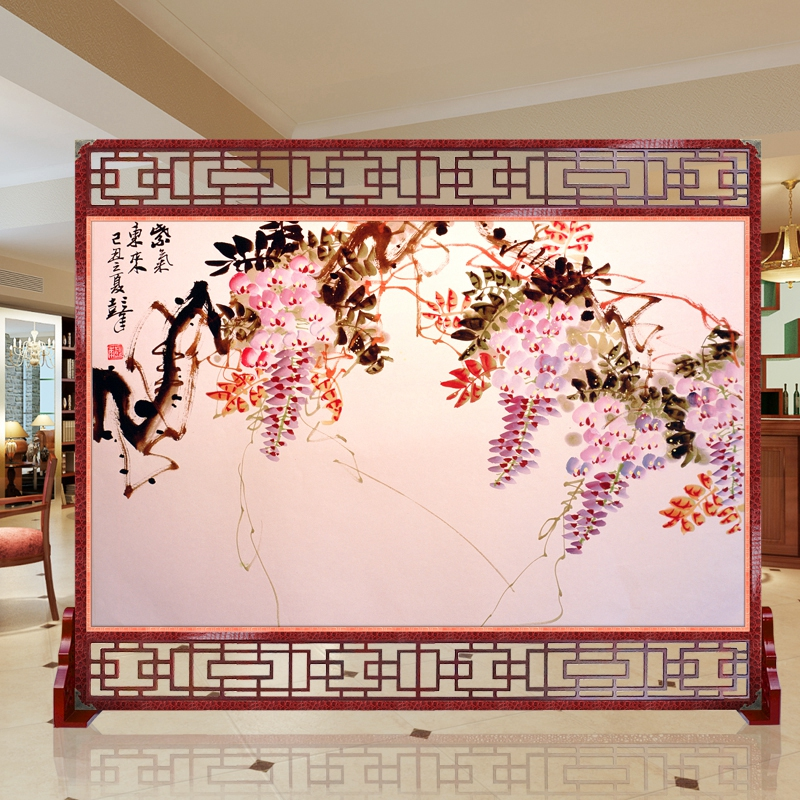 Carpenter emperor simulation leather technology base feng shui screen wall panels delineators spend very happy bird painting map