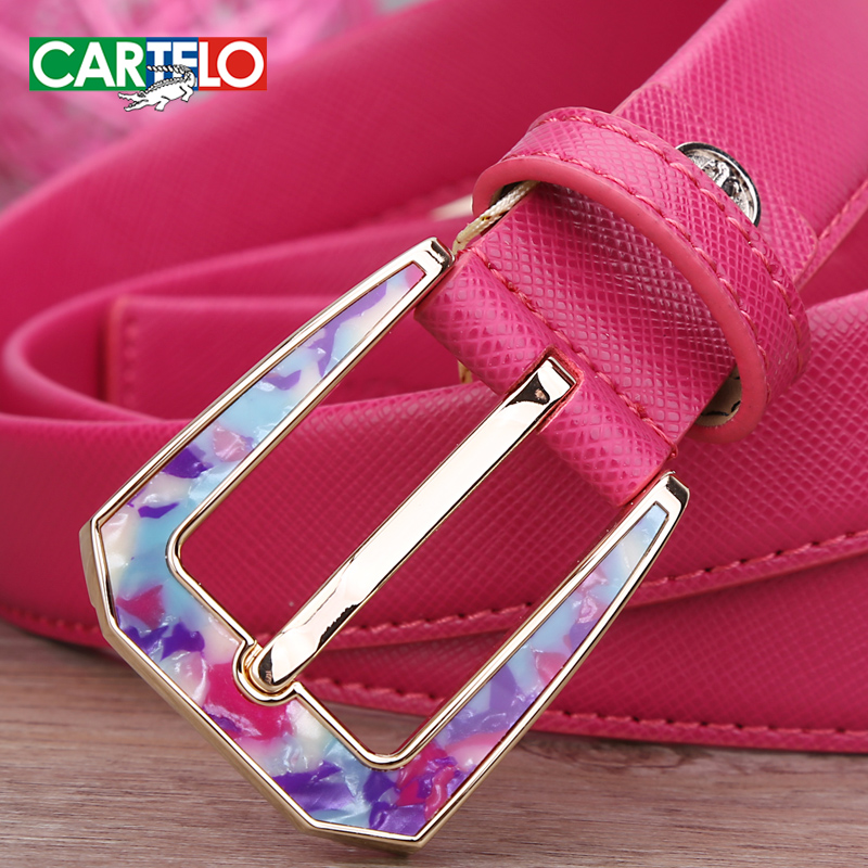 Cartelo genuine leather belt female candy colored casual and simple wild pin buckle leather belt ms. thin belt