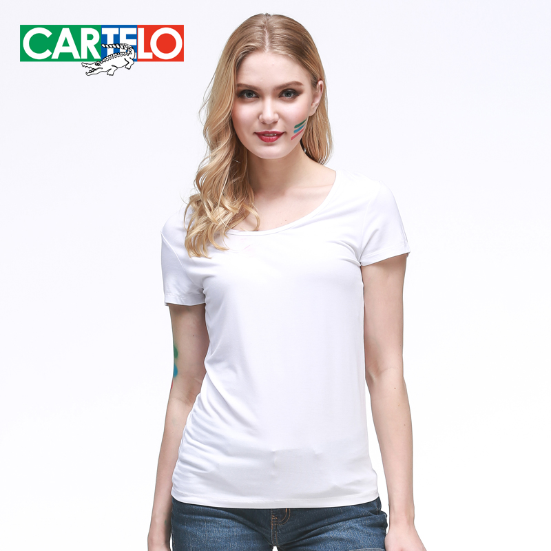 Cartelo ms. modal short sleeve t-shirt female 2016 spring and summer slim female backing shirt printing thin section thin u neck