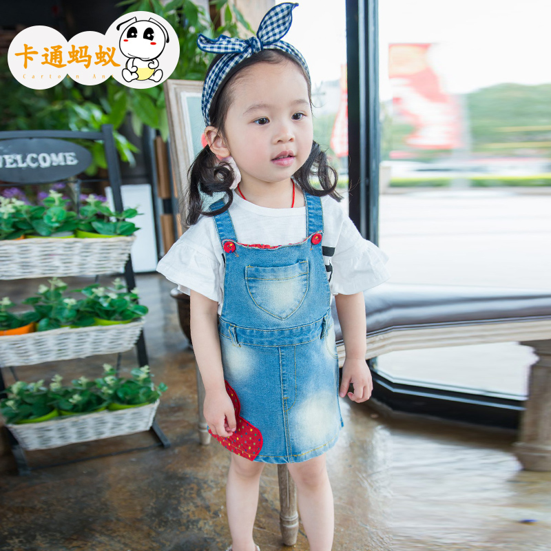 Cartoon ant kids girls denim strap dress 2016 summer new harness dress children dress baby