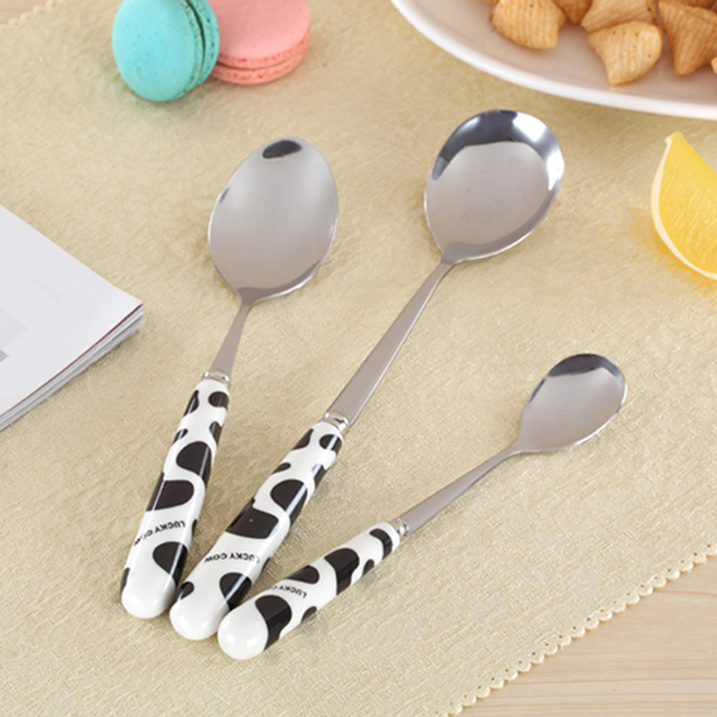 Cartoon cows ceramic fruit knife and fork spoon chopsticks chopsticks spoon stainless steel cutlery knife and fork cutlery sets children