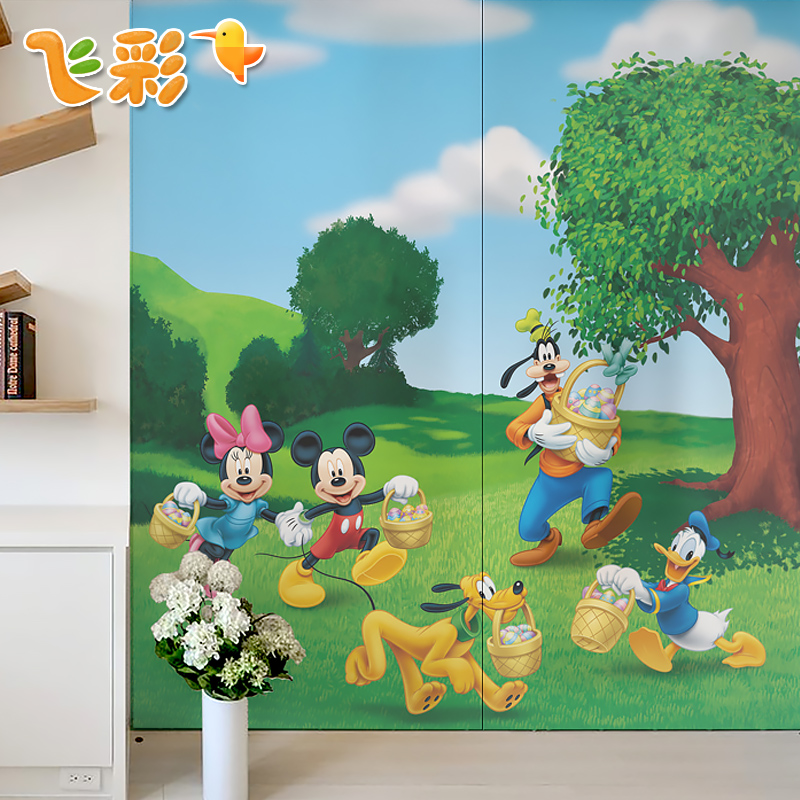 Cartoon frosted glass film window stickers window furniture sliding door window glass window stickers affixed grilles stickers mickey outing