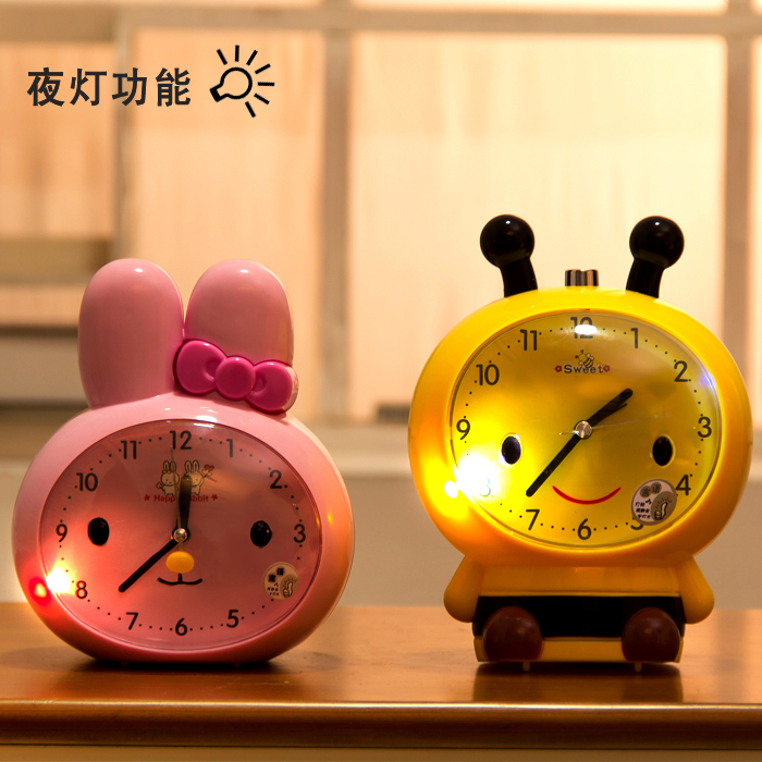 Cartoon student lazy supplies small children creative cute talking alarm clock mute luminous clock