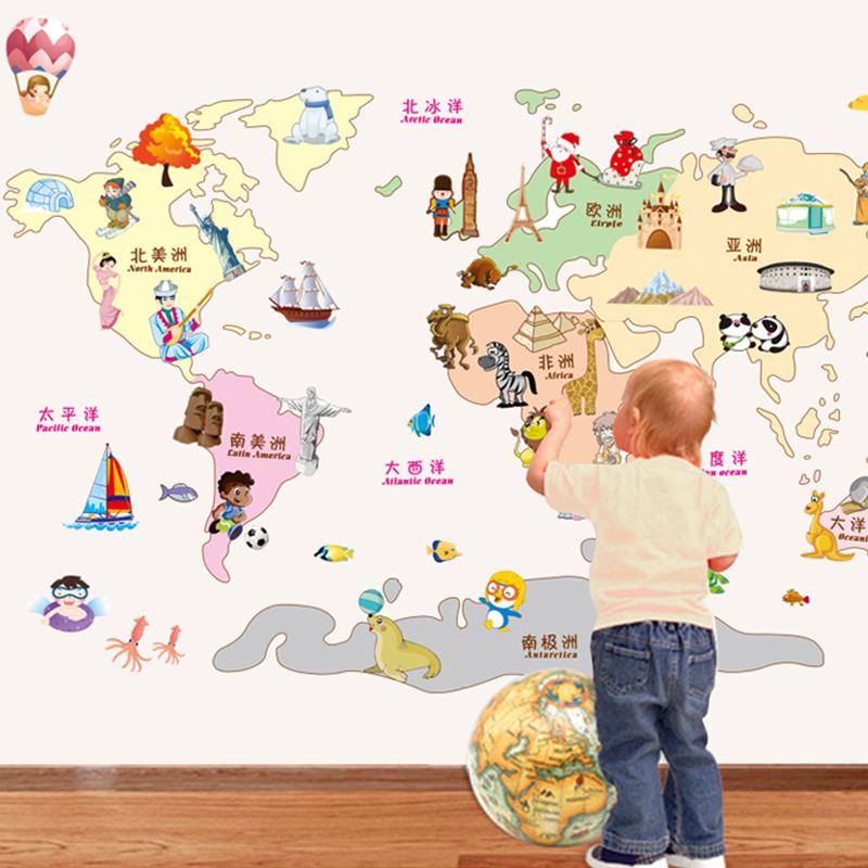 Cartoon world map wall stickers nursery decor removable wall stickers bedroom wall stickers baby measuring height and stickers