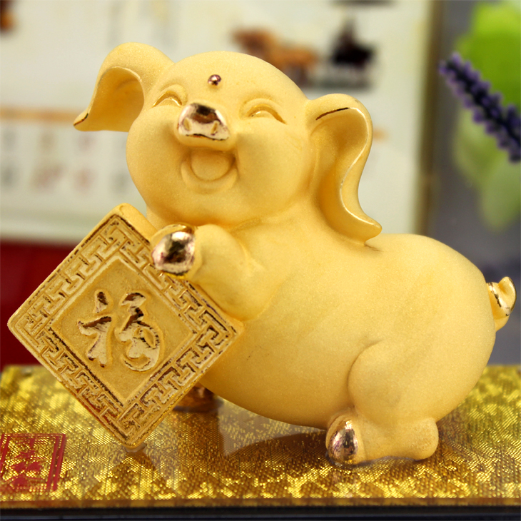 Cashmere alluvial gold zodiac rat ox tiger rabbit snakes pig horse sheep monkey jigou pig ornaments lucky feng shui ornaments Auspicious ornaments