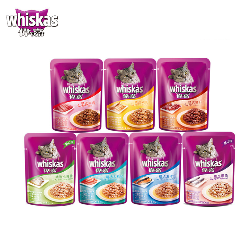 Cat treats whiskas cat food whiskas cat wonderful fresh pack canned cat 85g 6 kinds of flavors 12 package and enjoyed 21 provinces shipping