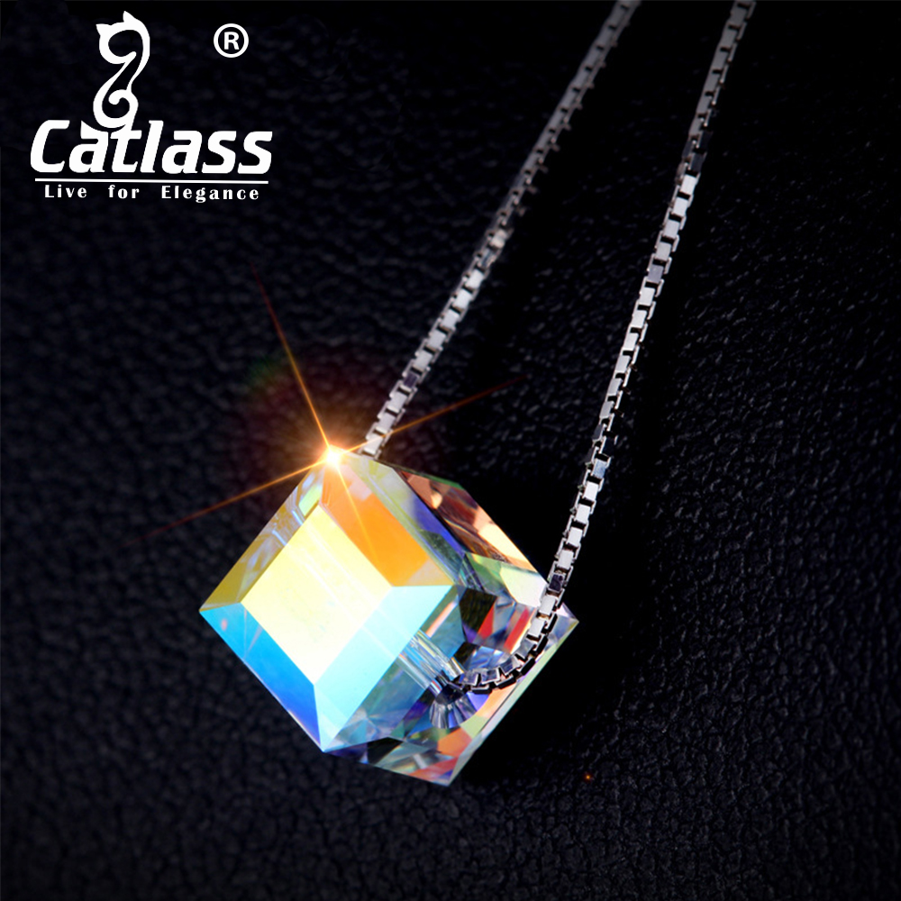 Catlass aurora sugar clover colorful crystal pentagram transfer beads s925 silver necklace pendant necklace set