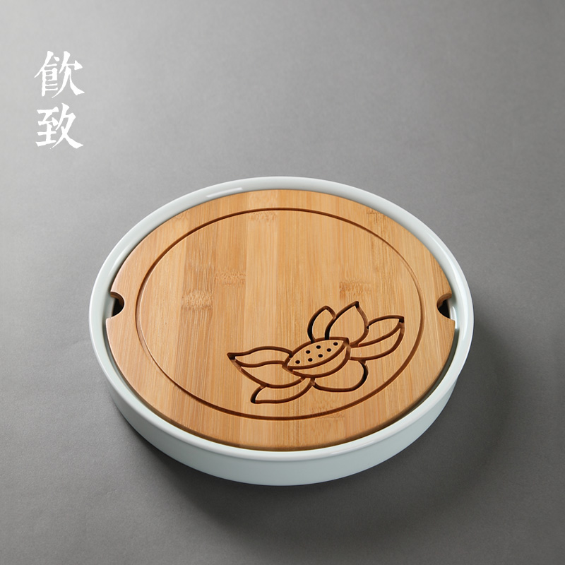 Caused by drinking circular bamboo surface dry tea sea water storage tray celadon ceramic pot with cheng kung fu tea tray