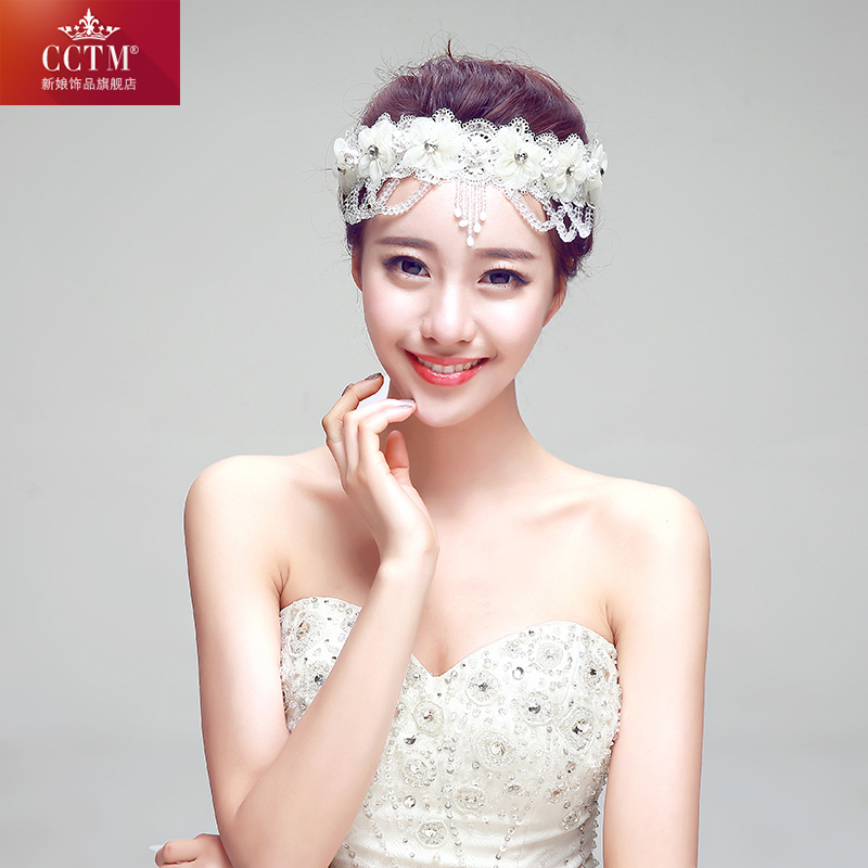 Cctm2015 new fashion korean head ornaments hair accessories wedding bridal jewelry bridal diamond tassel lace accessories