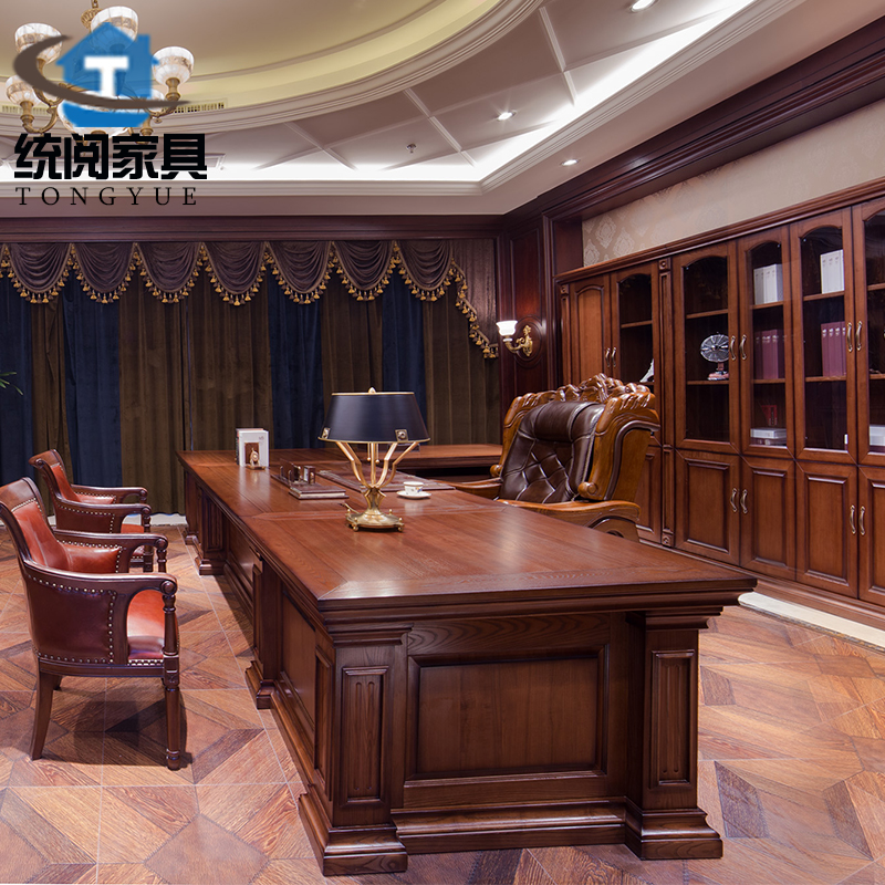 Ceo boss desk desk desk office furniture wood leather board long upscale supporting positive brand