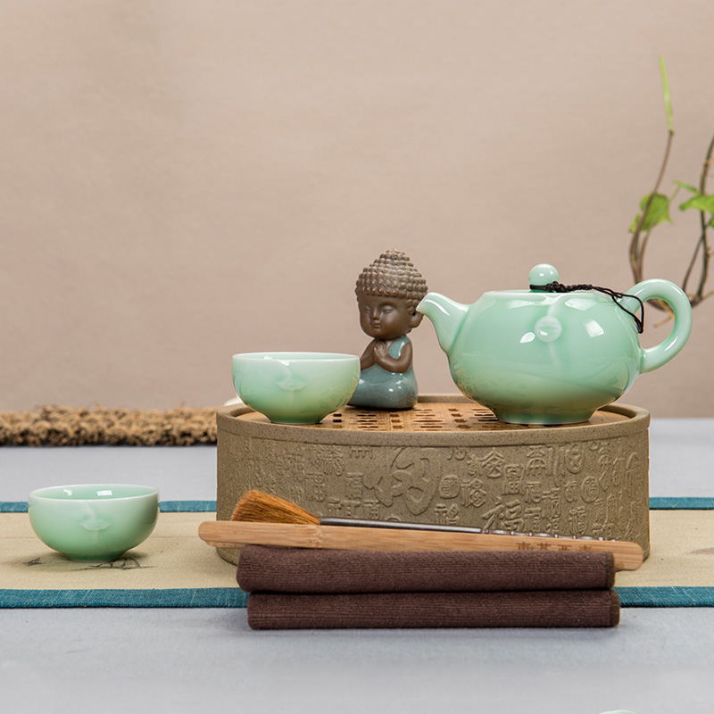 Ceramic tea pot east west of dry tea group wan bamboo kung fu tea tray covered tea cup tea pot two Kit