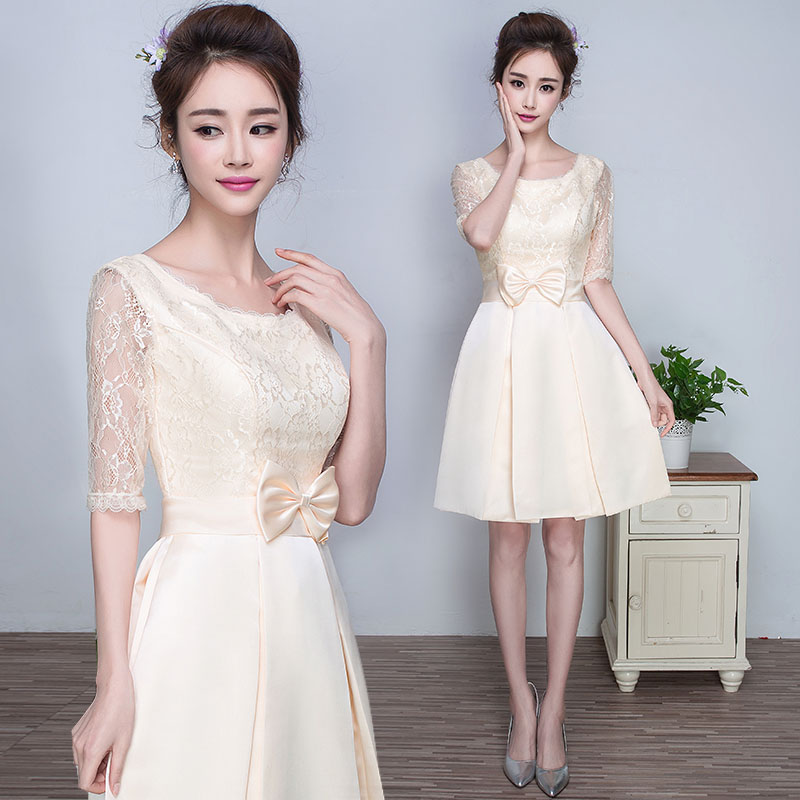 Champagne bridesmaid dress bridesmaid group short paragraph 2016 spring and summer new fifth sleeve dress korean version was thin shoulders female