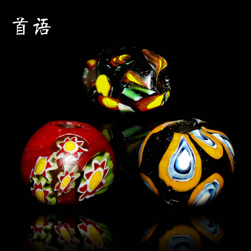 Chapeau venice thousand flower old glass trade beads eichhornia bodhi accessories man playing with beads diy jewelry accessories