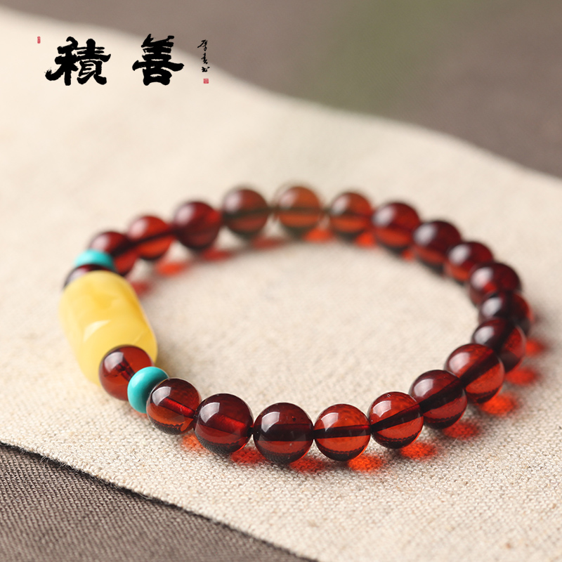 Charitable natural beeswax blood amber amber pool of blood baltic amber of the original stone bracelet bracelets female models design models