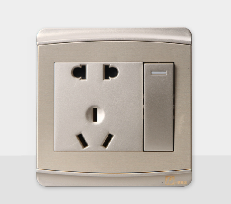 Chdele an open double control wall switch with five holes to plug socket with switch 1 switch champagne