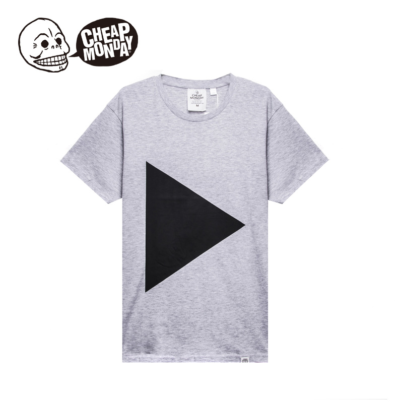 Cheap monday european and american fashion simple geometric patterns printed cotton round neck short sleeve t-shirt 0250658
