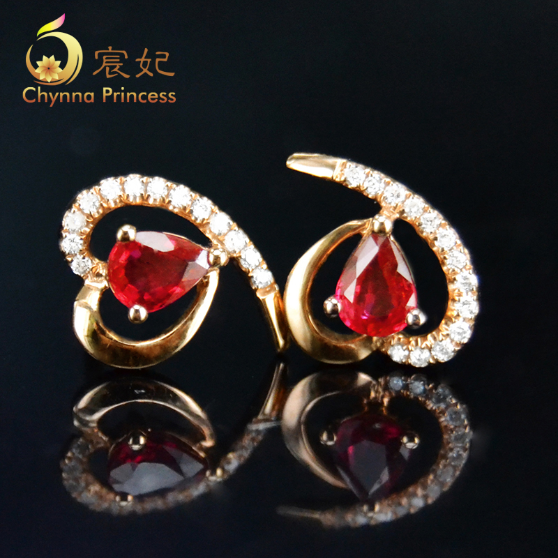 Chen fei jewelry 0.65ct 65ct natural colored pigeon blood ruby earrings k rose gold inlaid multicolored diamond customization