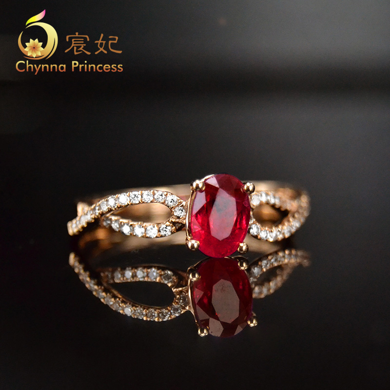 Chen fei jewelry 13.358kj 26ct natural color perfect k rose gold diamond ruby ring multicolored custom