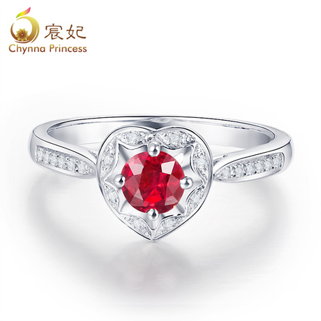 Chen fei jewelry natural color perfect circle pigeon blood red ruby ring female jewelry sets k white gold diamond customization