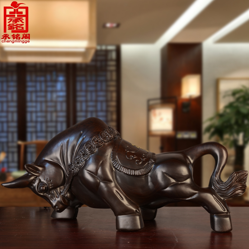 Cheng ming court fortune rainbow cow ornaments wood carvings wood carving craft wood wall street cow cow cow zodiac