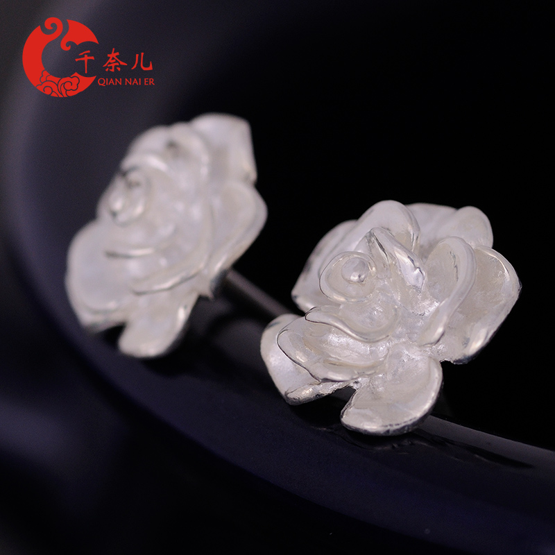 Chennai children s925 sterling silver stud earrings ear hypoallergenic earrings silver jewelry valentine's day roses female charming