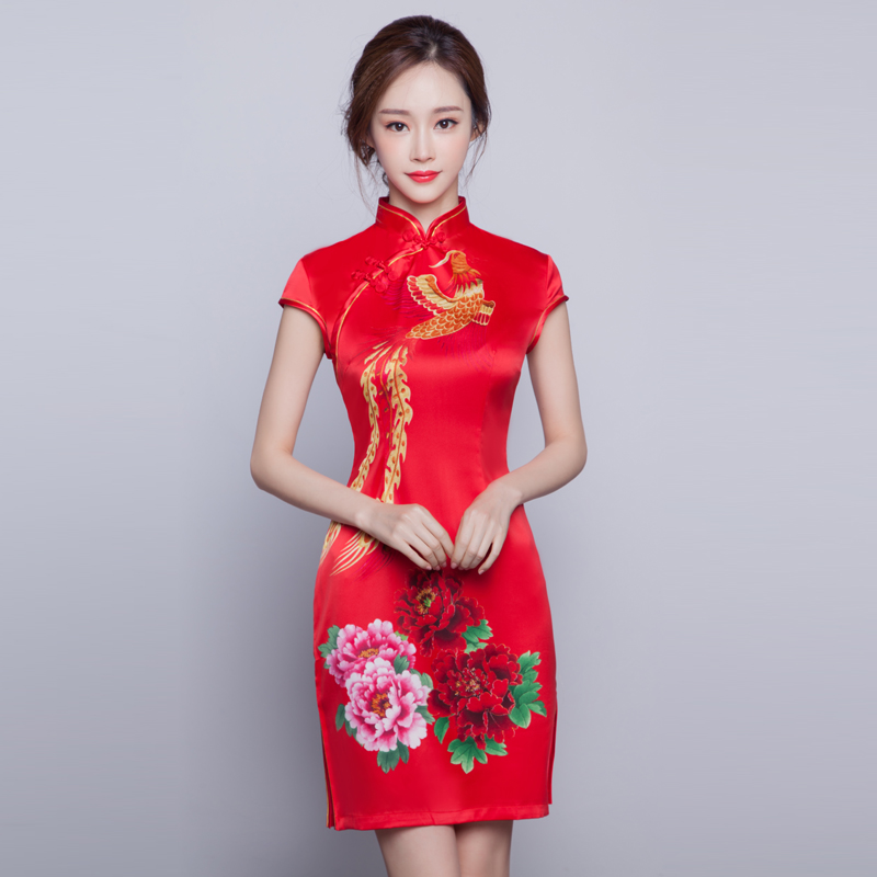 Cheongsam dress 2016 new spring and summer improved cheongsam red wedding dress bride wedding toast wedding dress short paragraph dress women