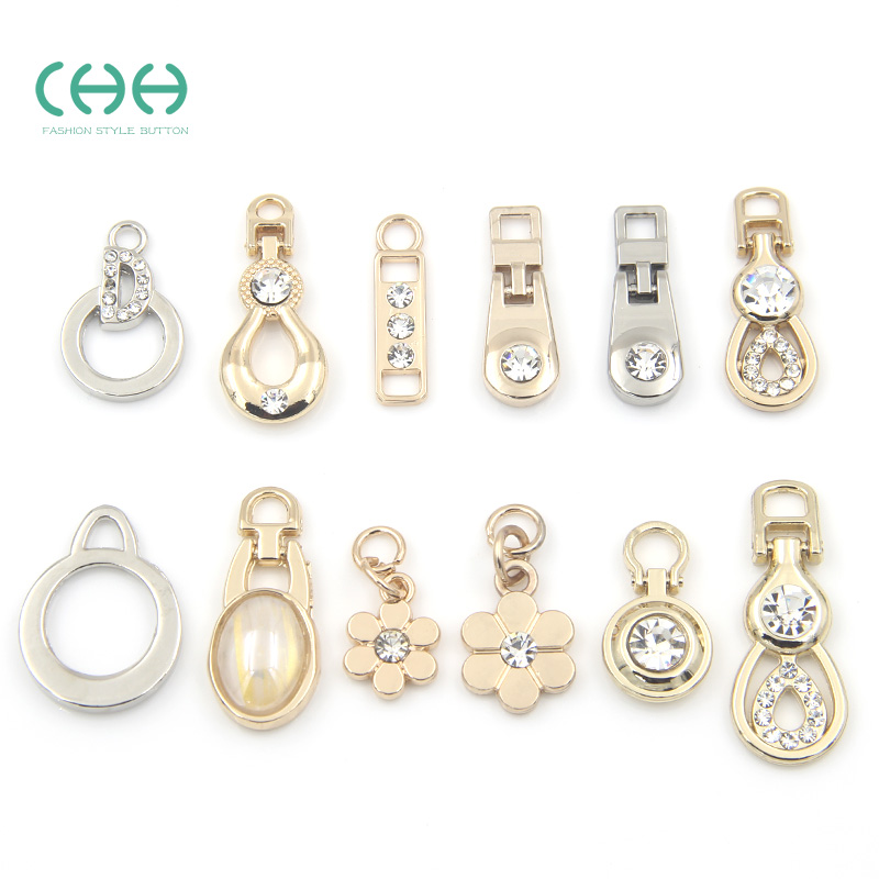 Chh clothing large metal slider pull tab zipper head alloy diamond slider bags decorative pendant diy accessories