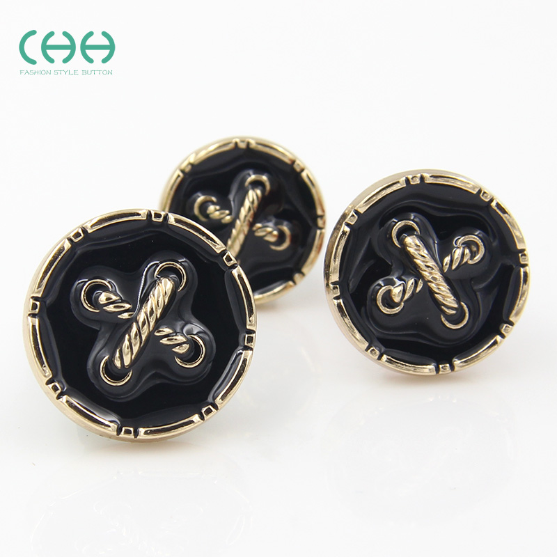 Chh clothing metal buttons with a crossover cable black coat buttoned sweater coat buttons 18-23mm