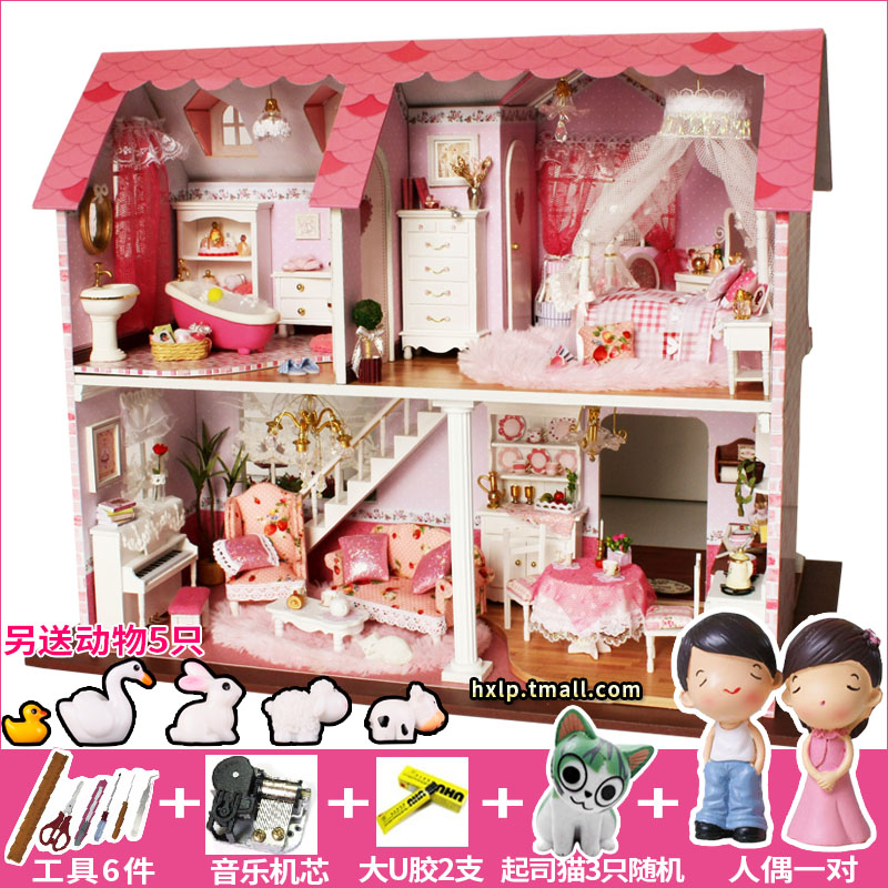 Chi fun house diy handmade cabin pink sweetheart large villa house model assembled birthday present female princess