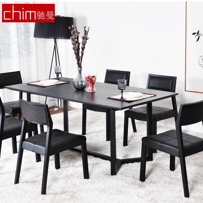 Chi man furniture modern minimalist combination of solid wood dining tables and chairs set table four chairs six chairs furniture