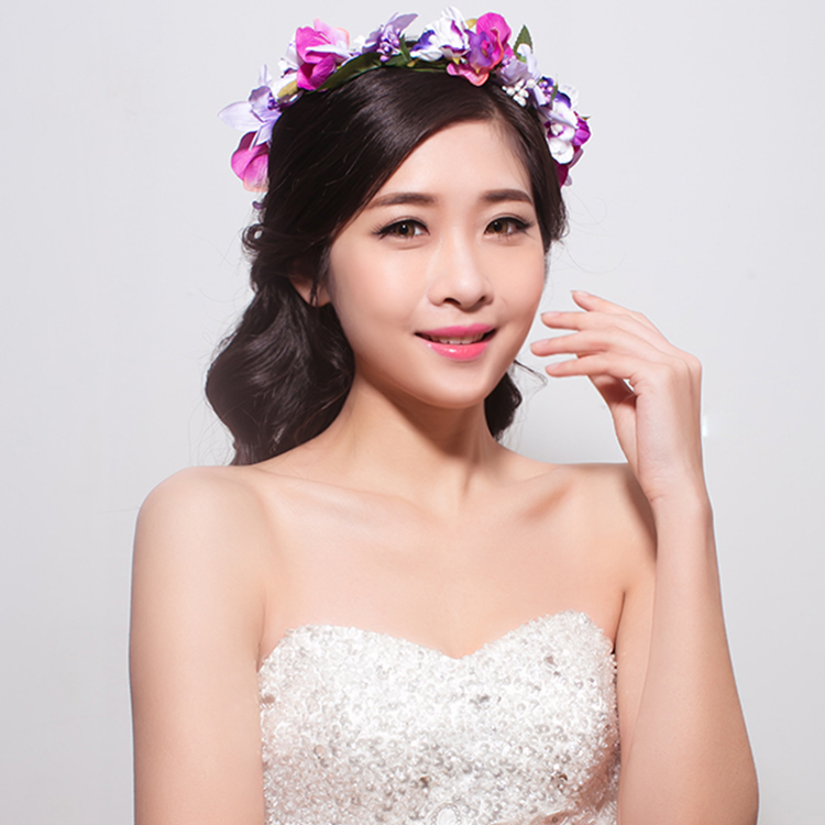 Chi meng red rose phalaenopsis flowers handmade garland korean style lace wedding bridal hair accessories with jewelry