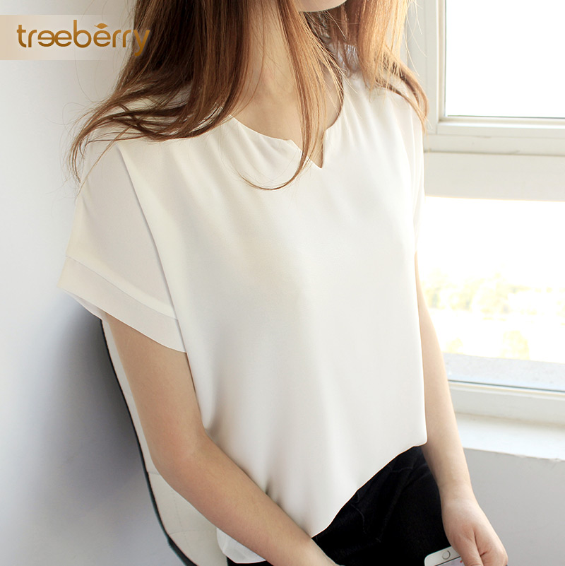 Chiffon shirt female 2016 spring new short sleeve white chiffon shirt bottoming shirt slim v-neck pullover short sleeve t-shirt female