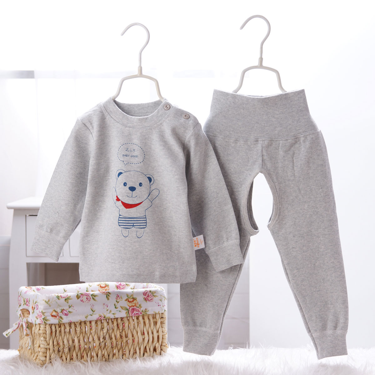 Child care belly waist warm shoulder open underwear sets baby boy autumn autumn clothes baby clothes for men and women long sleeve