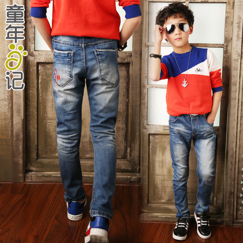Childhood diary boys spring and autumn children's jeans trousers 2016 spring models kids korean boy big virgin boy trousers