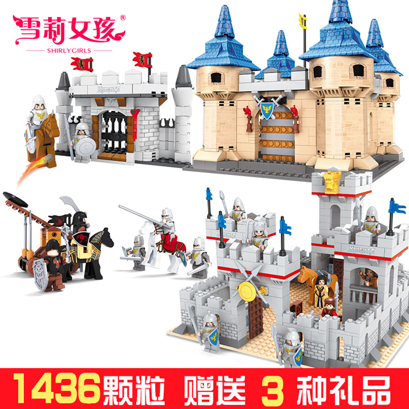 Children assembled military castle 8-10-12-year-old assembled boy toy building blocks puzzle fight inserted small particles of terrorism