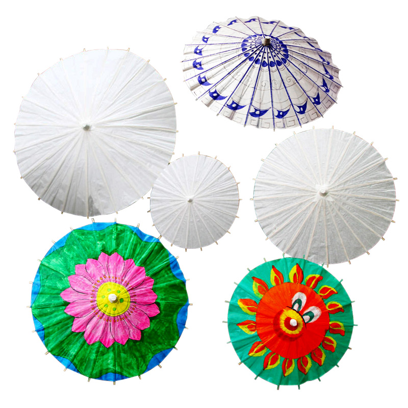 Children diy handmade blank paper umbrellas umbrella painting white painted white embryo color painted paper umbrella craft umbrella umbrella kindergarten