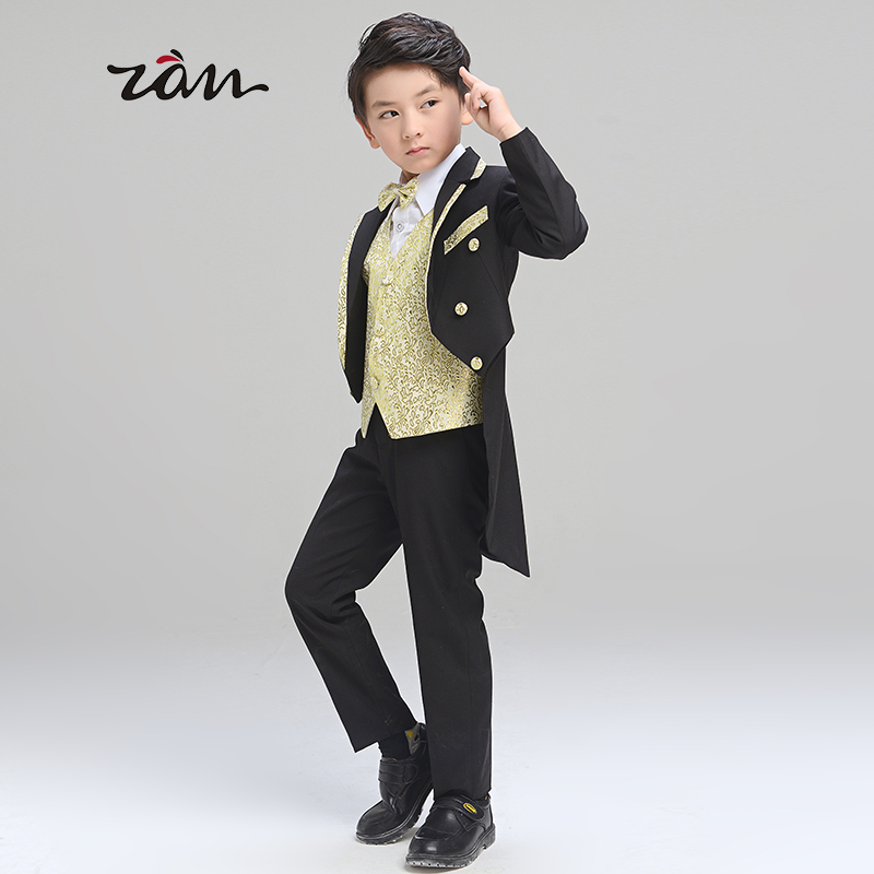 Children dress suits tuxedo boy child flower girl dresses male big boy piano performance clothing costumes suit suit autumn paragraph